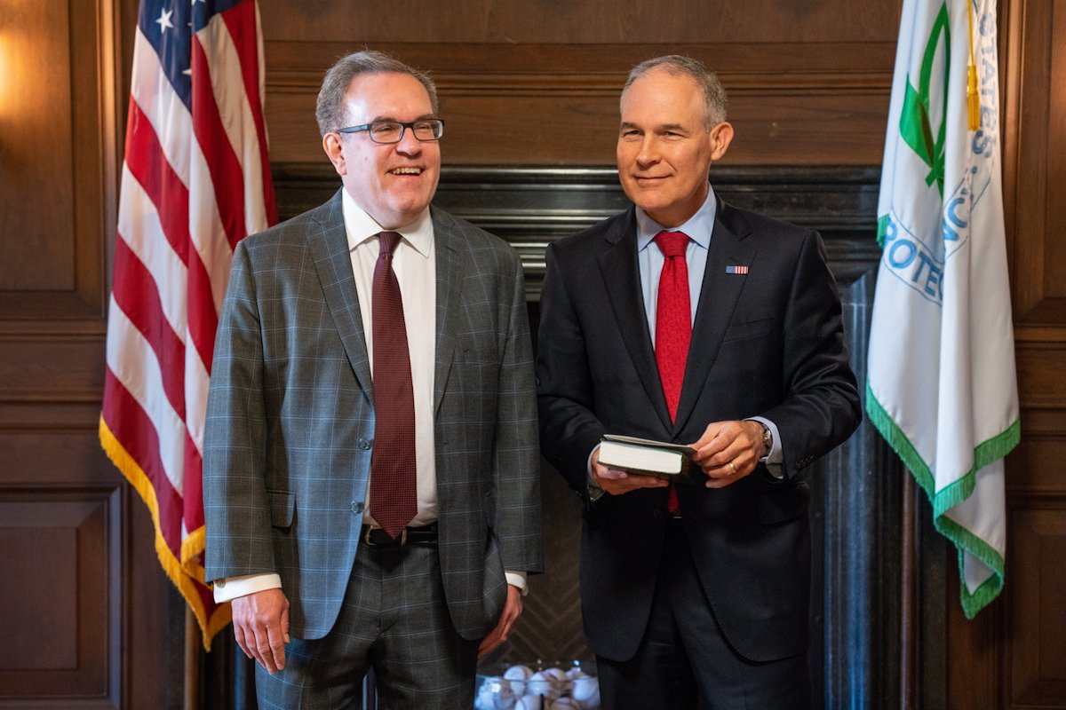 Andrew Wheeler (L) will serve as acting Environmental Protection Agency administrator while President Trump looks for a successor to Scott Pruitt.Credit: EPA