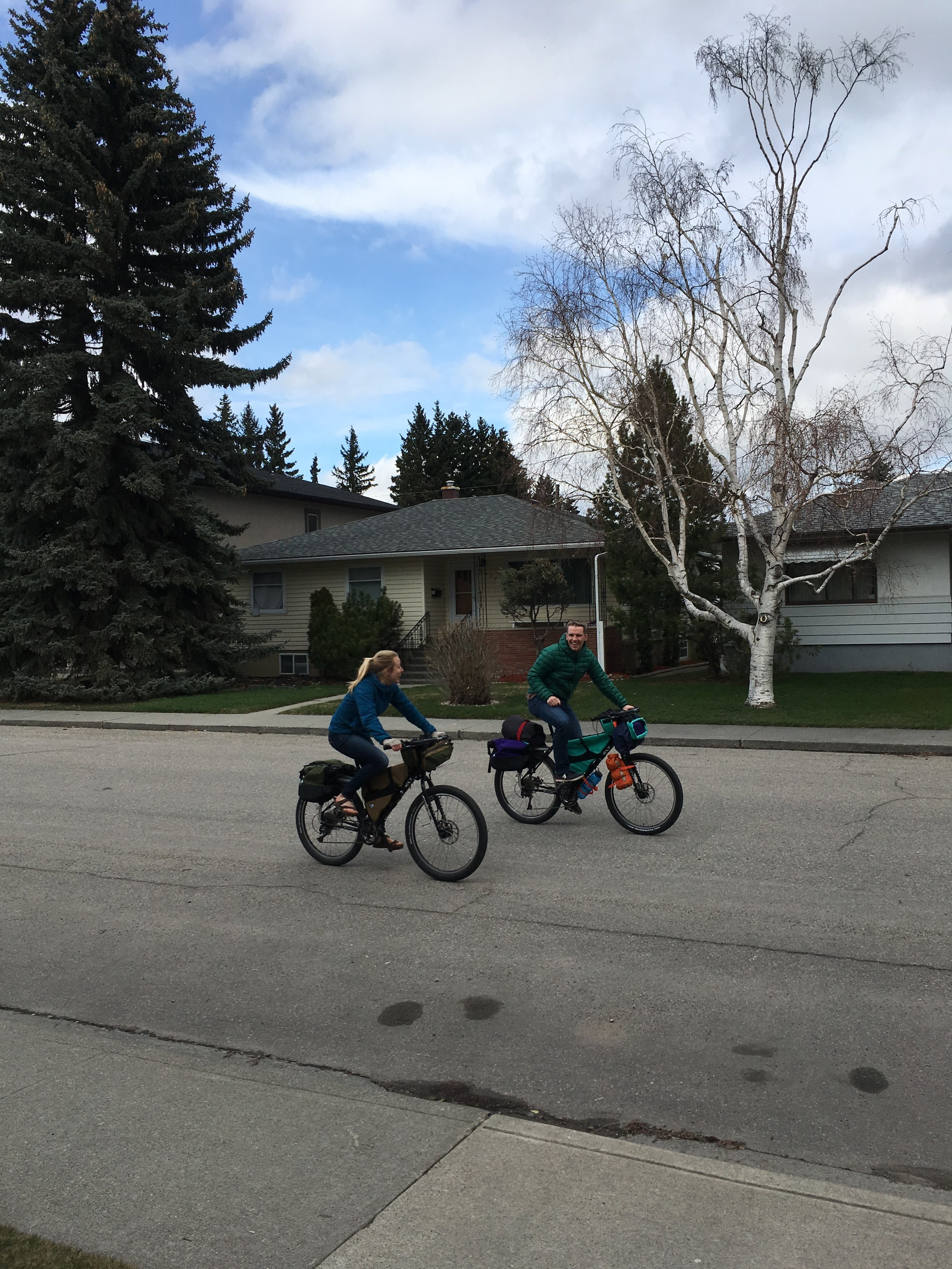 Test rides down the street.