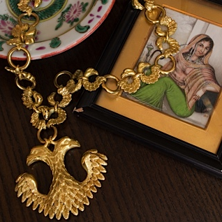 Van Cleef and Arpels double headed Eagle necklace and bracelet circa 1970s in Mahnaz Collection studio