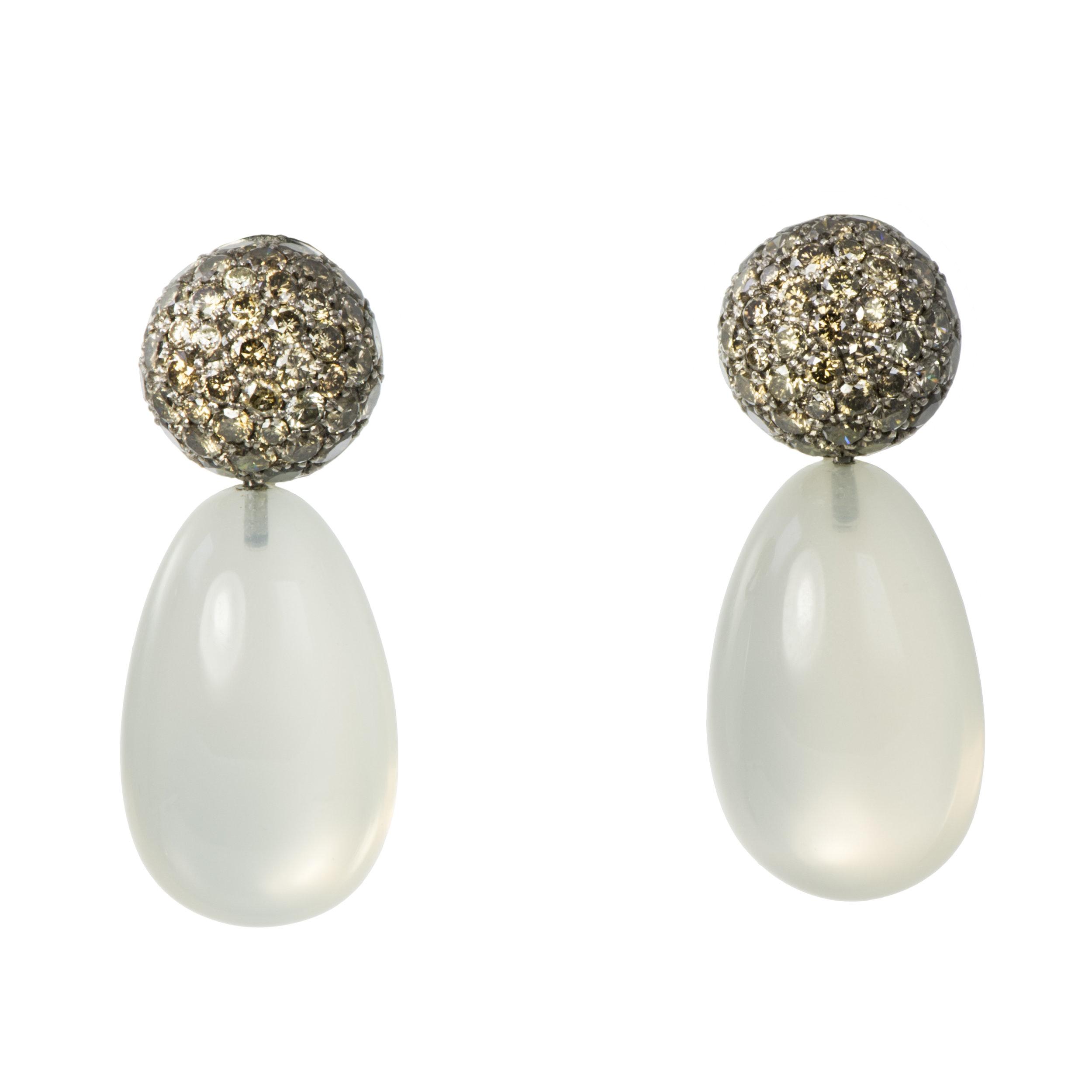 A pair of moonstone and orange-brown colored diamond pendant earrings, Hemmerle, Germany, c. 2000s