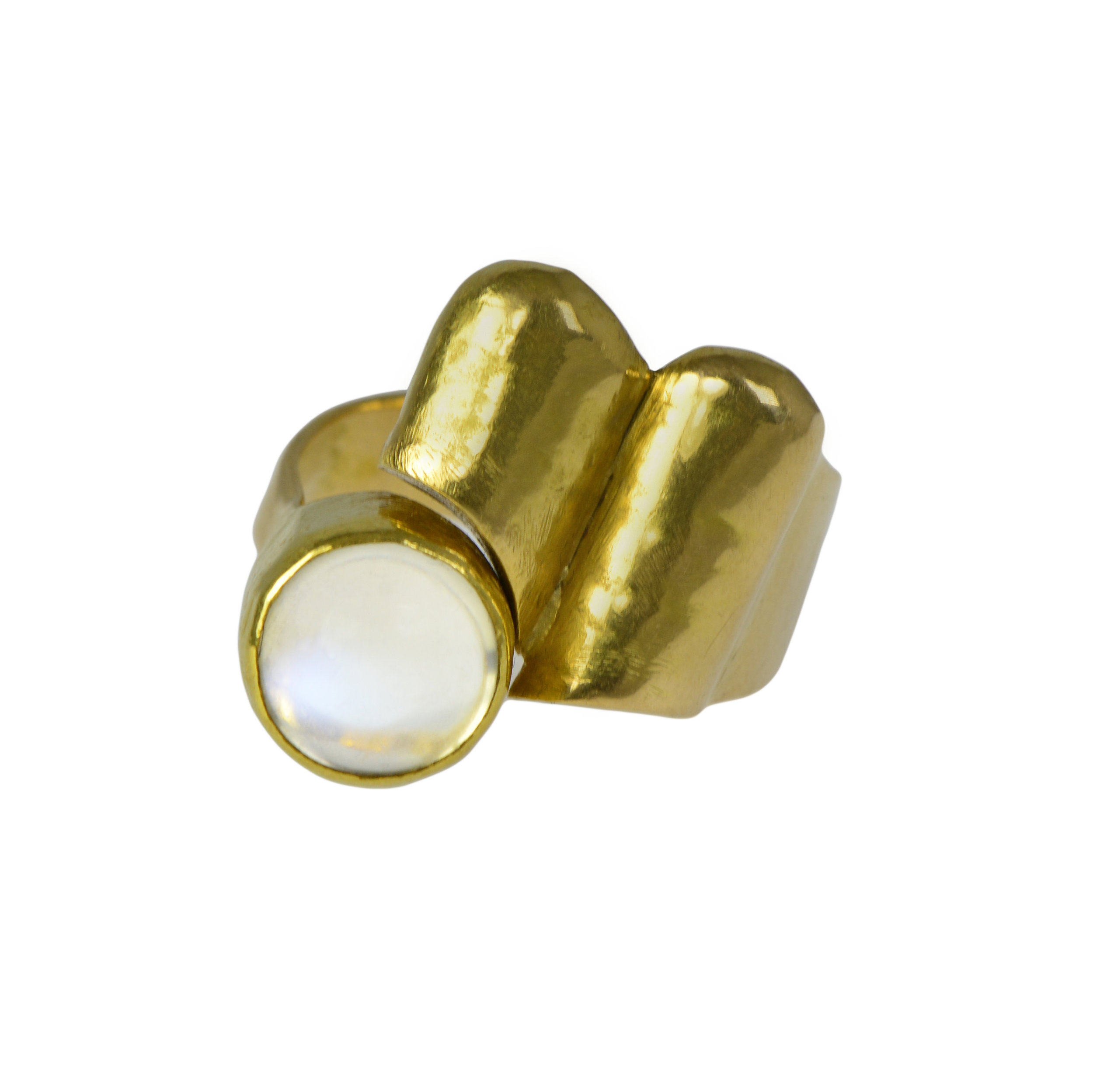 A ring of cabochon moonstone and 18k gold, Christa Bauer, Germany, c. 1960s. Size 7 ½""