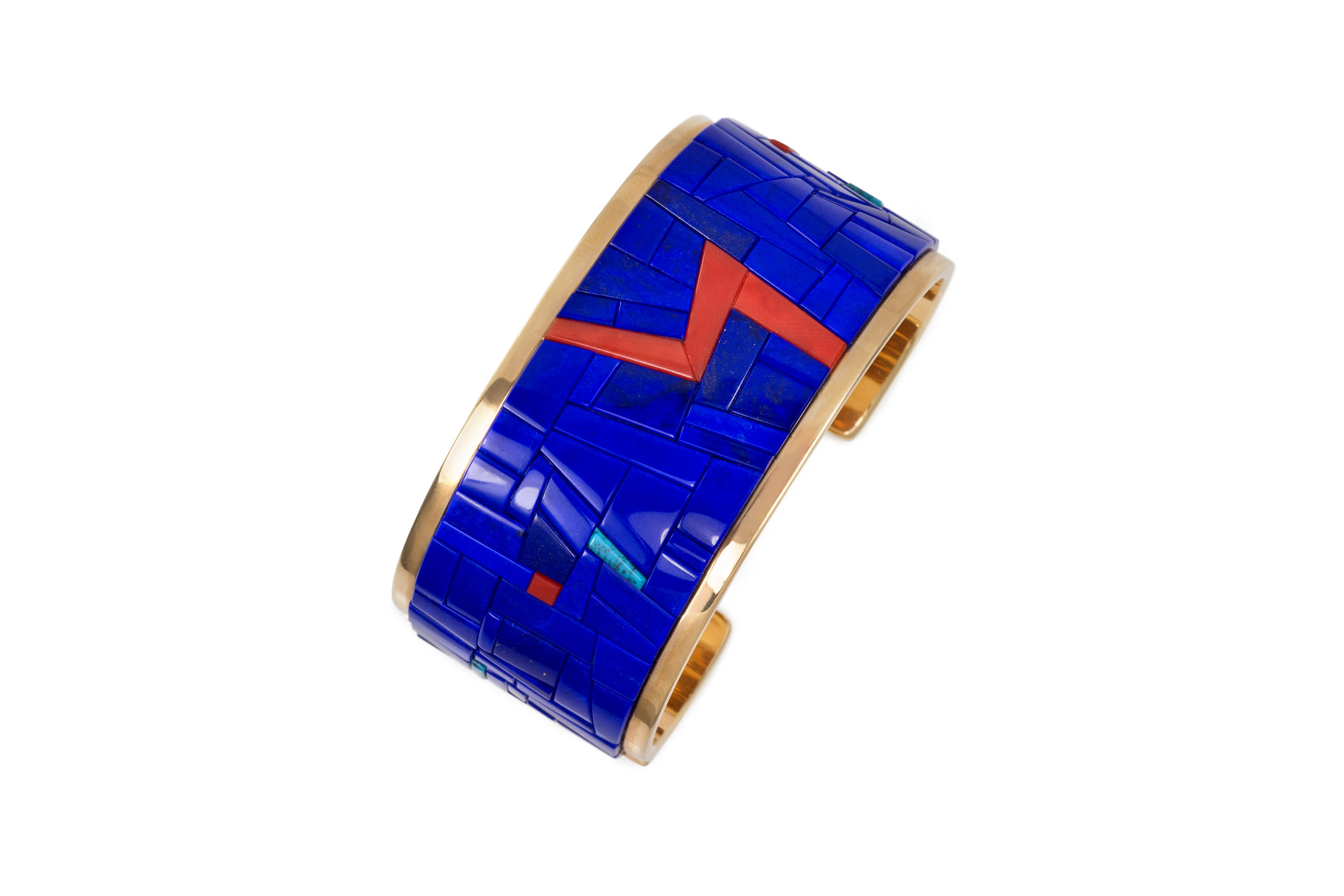 A lapis lazuli, coral, turquoise and 18 karat gold cuff, by Richard Chavez, 1995