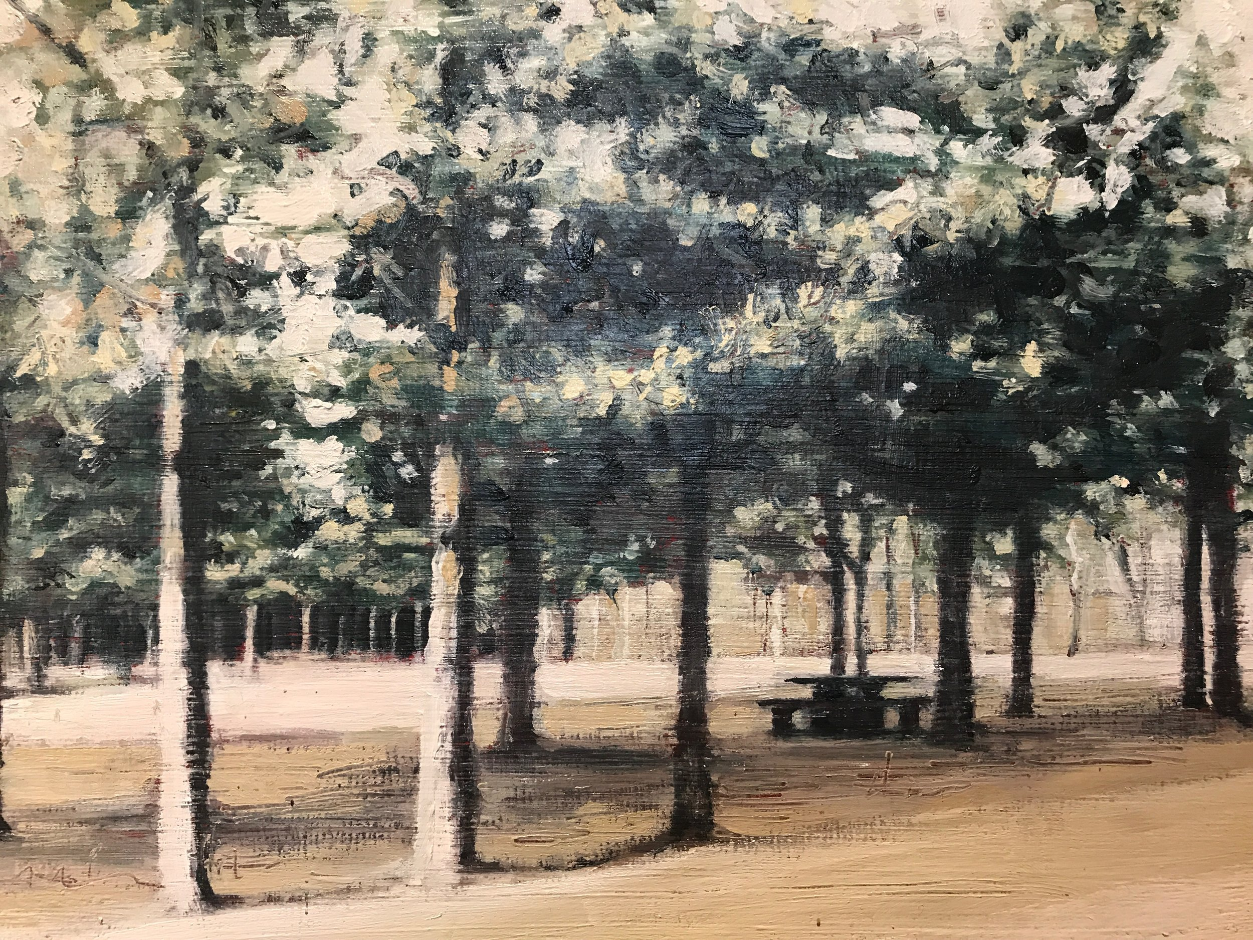 Kate Sherman    Picnic Bench, 2, 2015 (1 of a series of 4)    Oil on plywood    £380