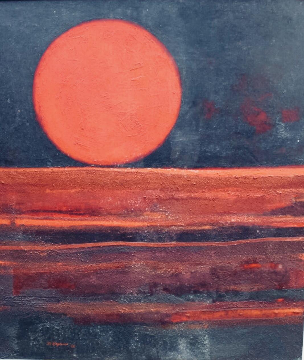 David Hazelwood. Red Horizon, 1968. Oil on mixed media on board.