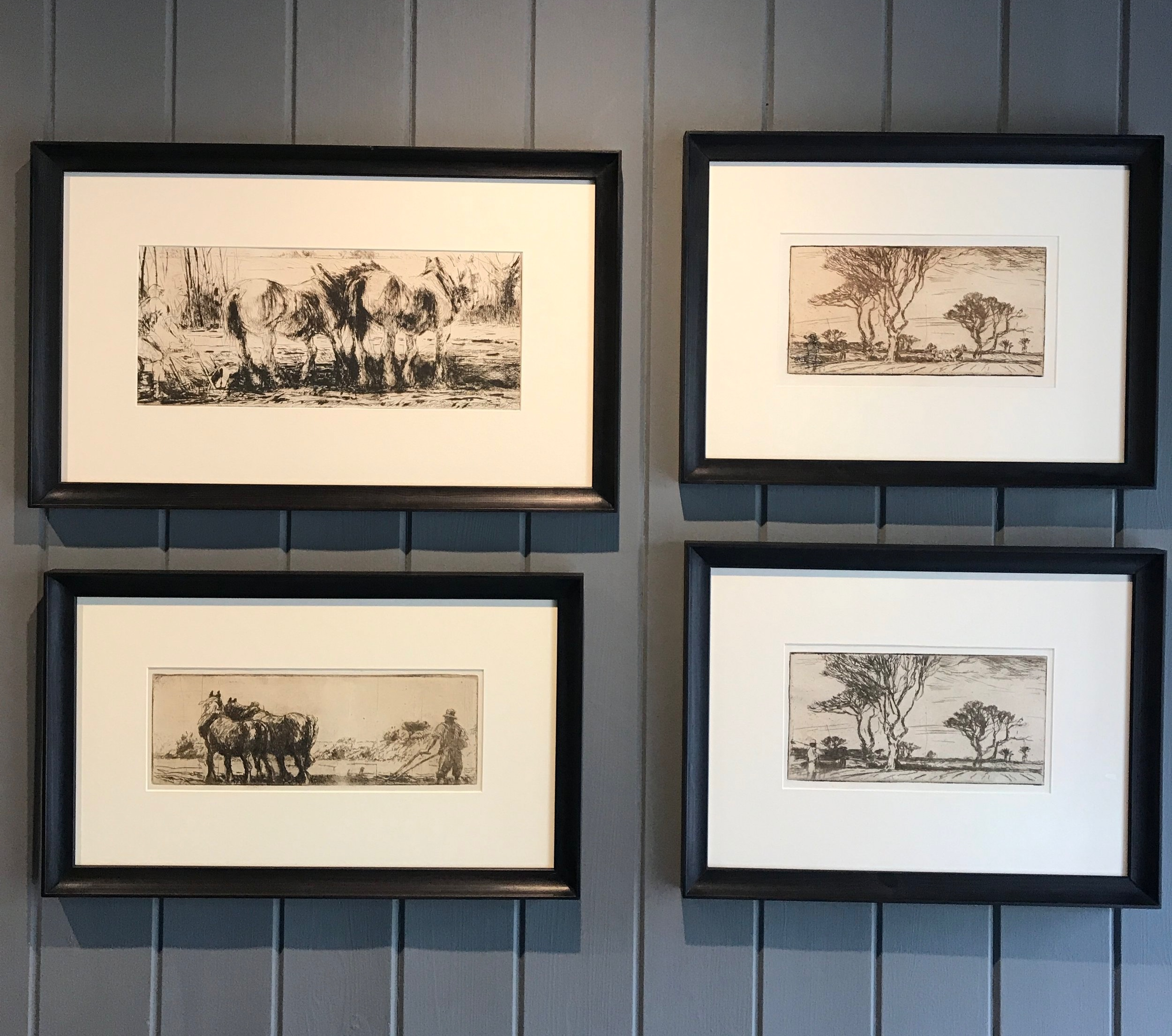 Top left to right -  Harry Becker : 1/ Plough Team,  c.1920s. Etching on paper. 2 /Distant Plough Team om Tree lined Landscape,  c.1910s. Etching on paper.  Bottom left to right -  Harry Becker  1/ Ploughing,  c.1910s. Etching on paper. Brown ink. 2/ Field worker in Tree lined Landscape , 1910s. Etching on paper.