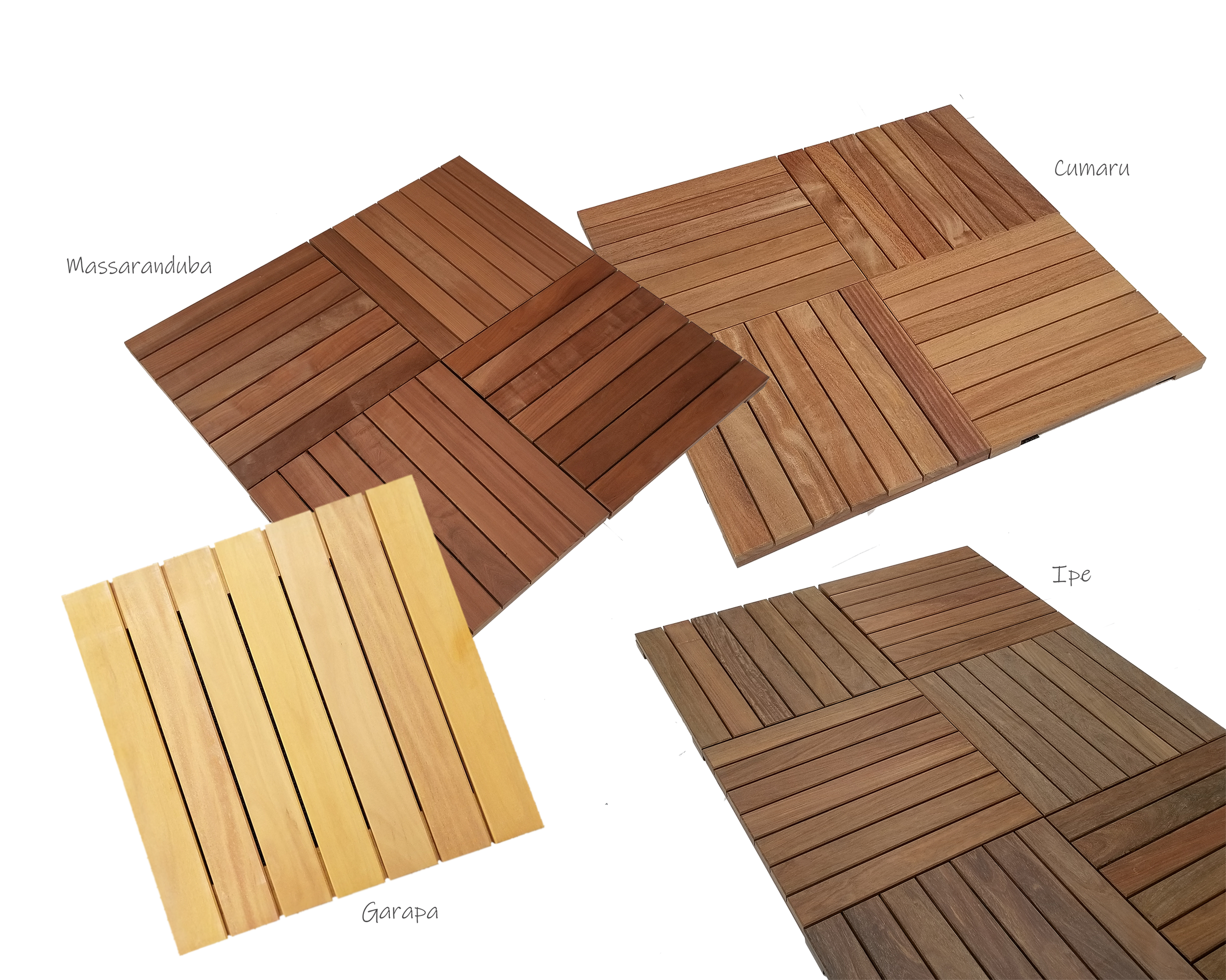 "Solid Hardwood Deck Tiles - With our 100% solid hardwood deck tiles, there's no need for costly renovations. Save money on installation and repairs by building a deck that lasts 50+ years in all climates including hot, dry, wet, and cold weather. Our 24"" x 24"" tiles are chemical-free and made from commercial-grade exotic woods that are naturally resistant to mold, insects, and decay. All of our wood is responsibly harvested and FSC certified."