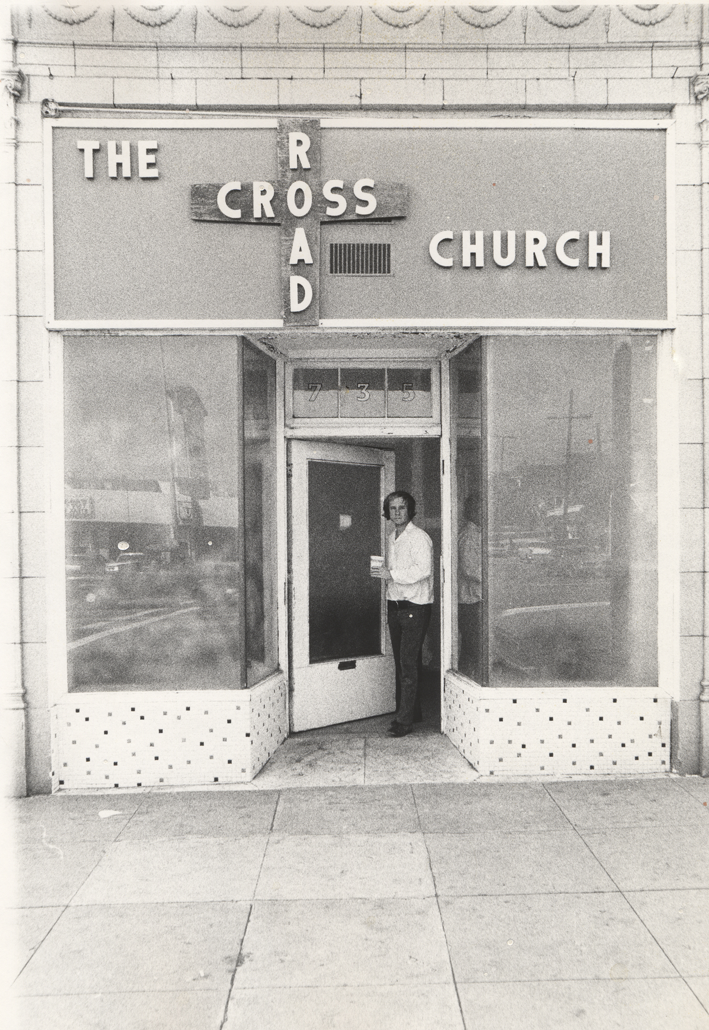 The Cross Road Church, 1970/71, by Jerry McMillan  One of multiple studios Joe had on Western Avenue during the 60s and 70s, this one at 735 N Western Ave.