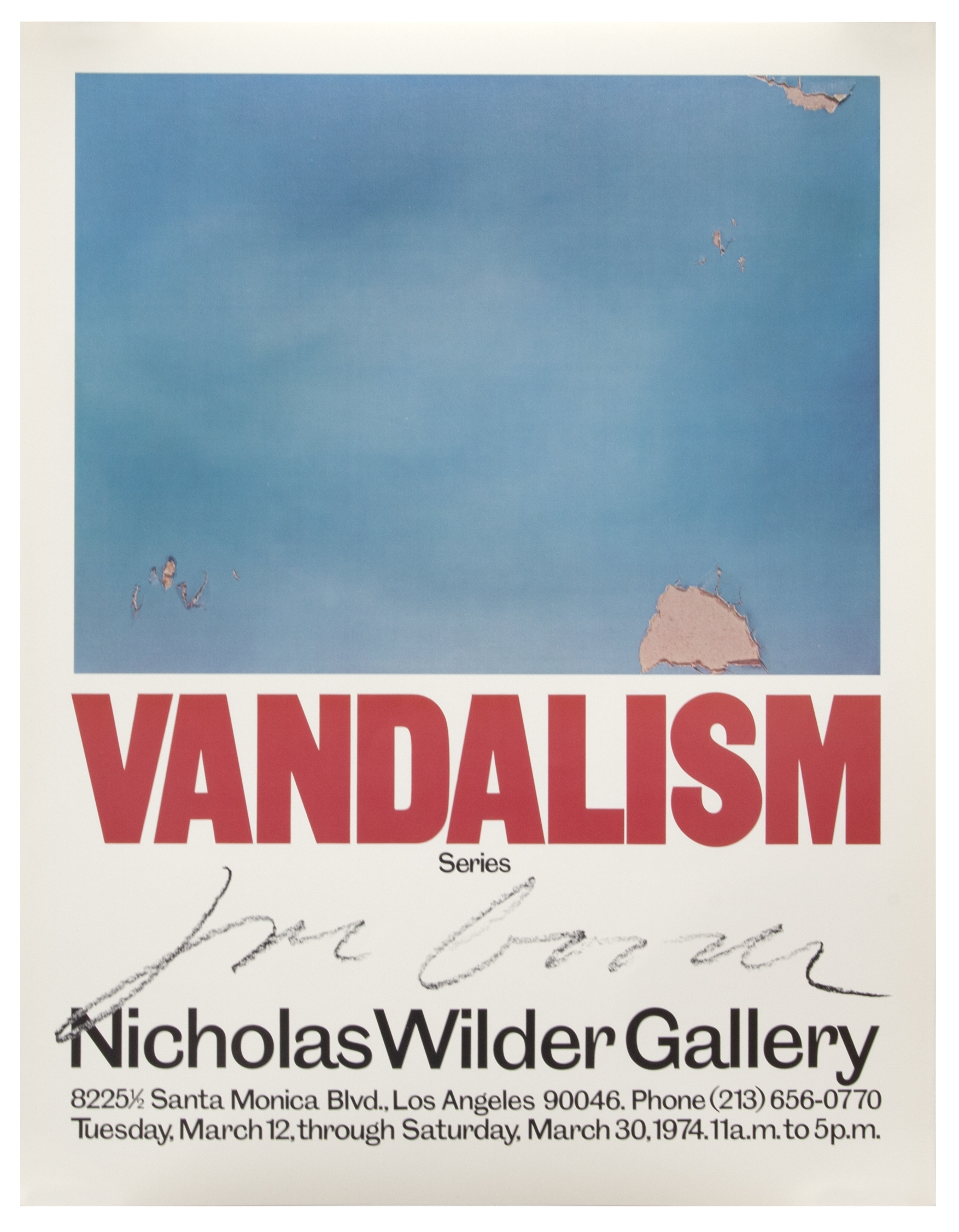 The 1974 poster for the Joe Goode exhibition titled Vandalism, at the Nicholas Wilder Gallery.