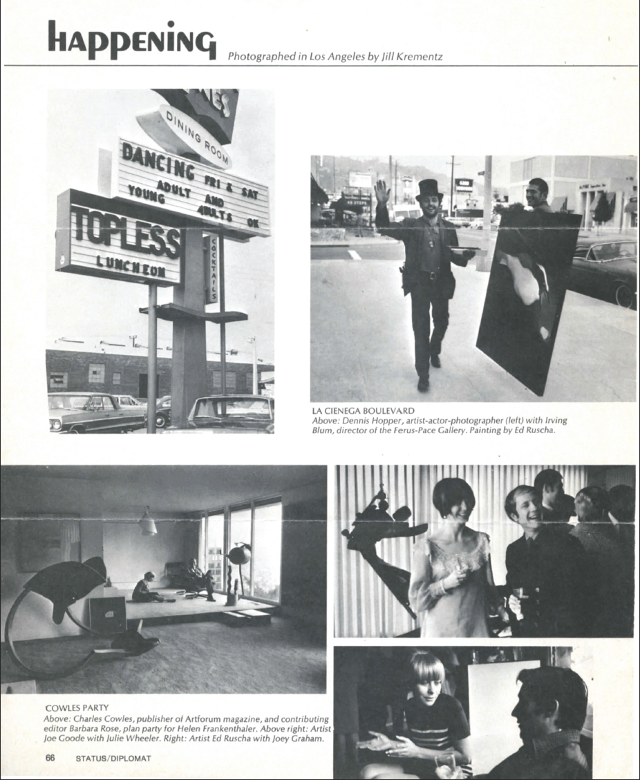 "Joe's Goode's  Untitled (from the House painting series) ,  in the foreground of the ""Cowles Party"" image   Happening Photographed by Jill Krementz,   1962 Status/Diplomat  ( Page 66)"