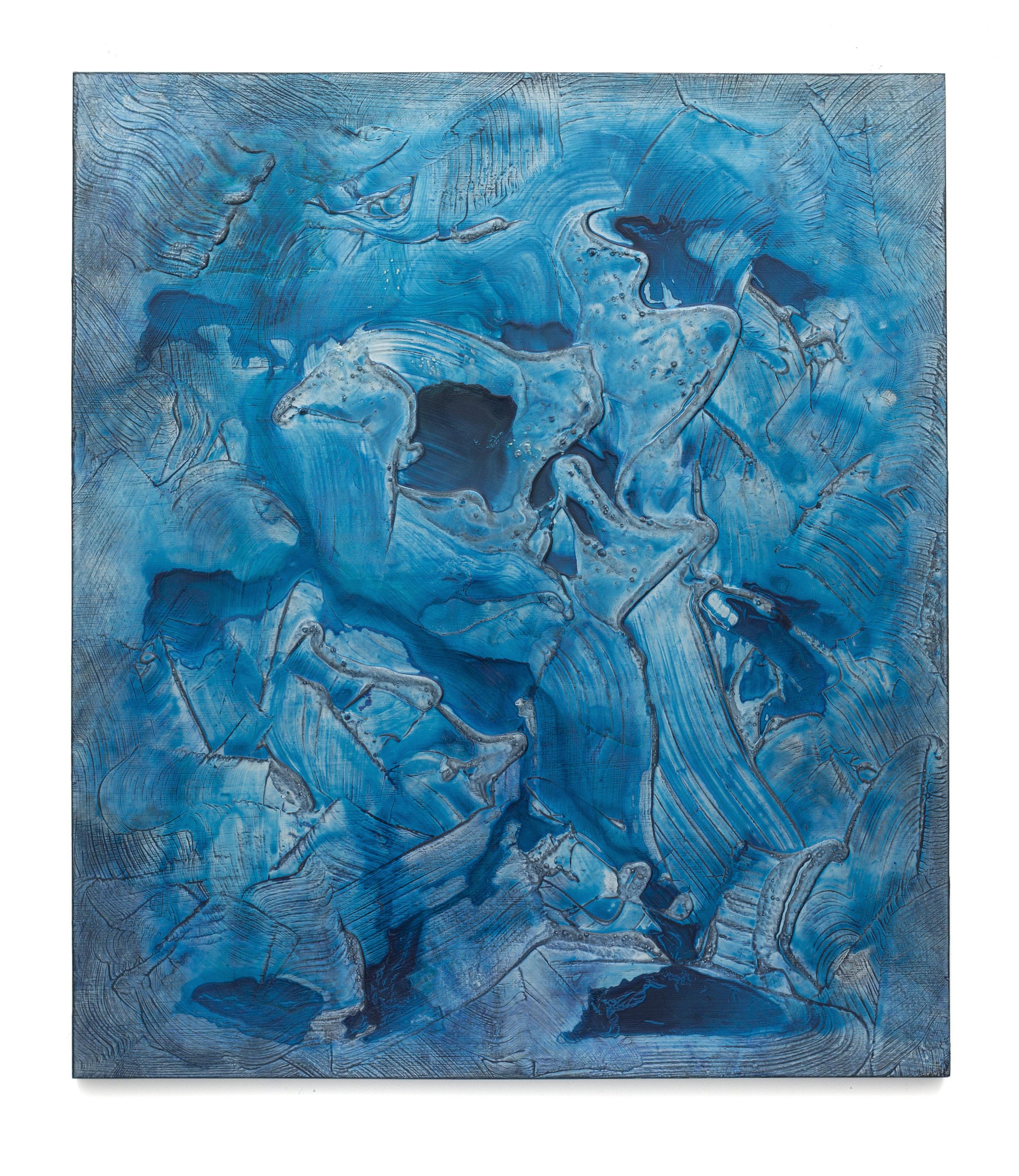 """Untitled (Can't Swim 17), 2018, Acrylic on archival foam board, 46 1/8"""" x 40 1/8"""""""