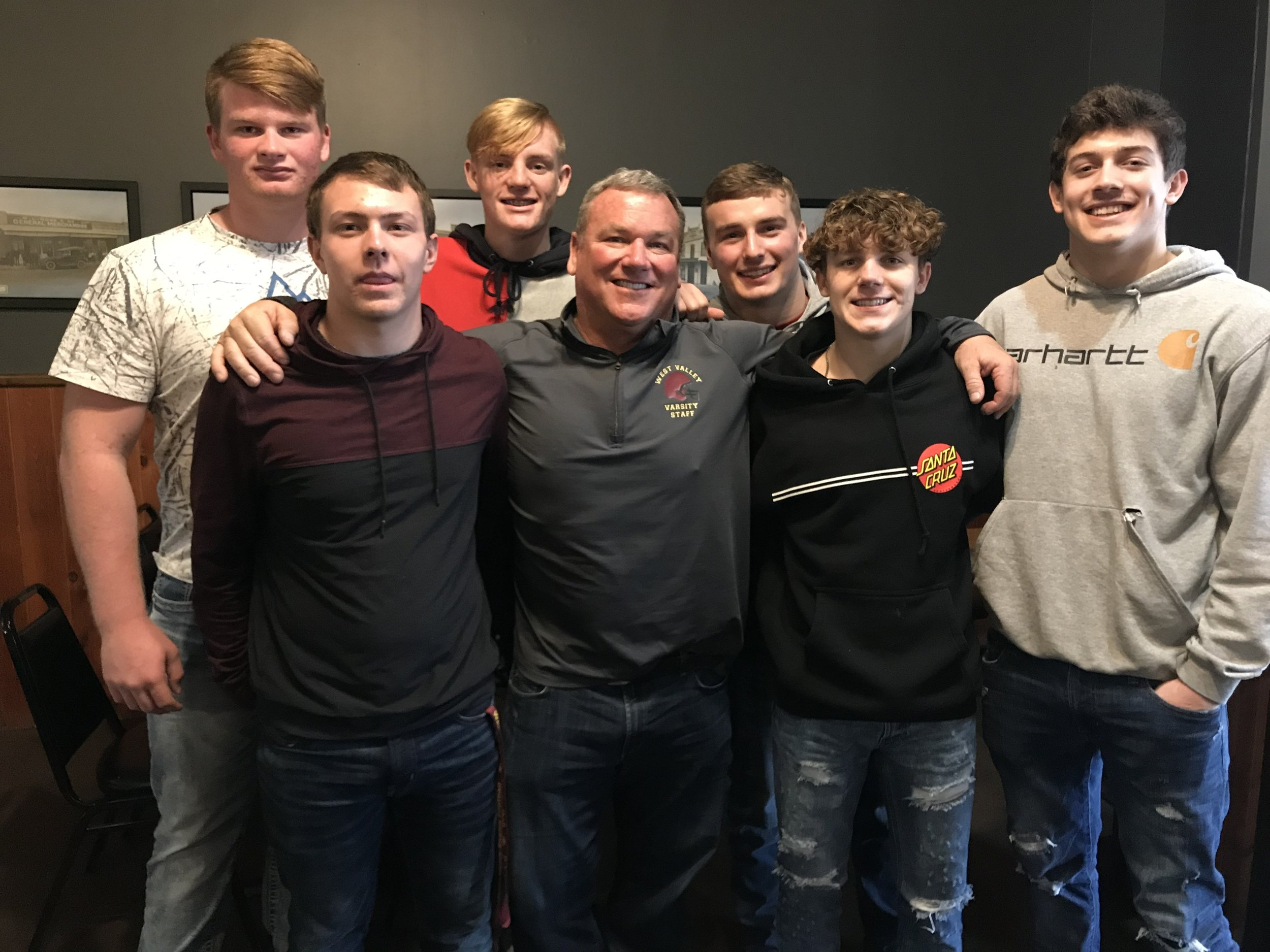 West Valley High School Head Varsity Football Coach, Greg Grandell, with members of the North Section CIF Division III Football Championship team.  Back row: Logan Gonzalez, Jacob Best, Cade Lambert  Front row: Garett Thibodeau, Greg Grandell, Myles Gibbons, Brock Taylor