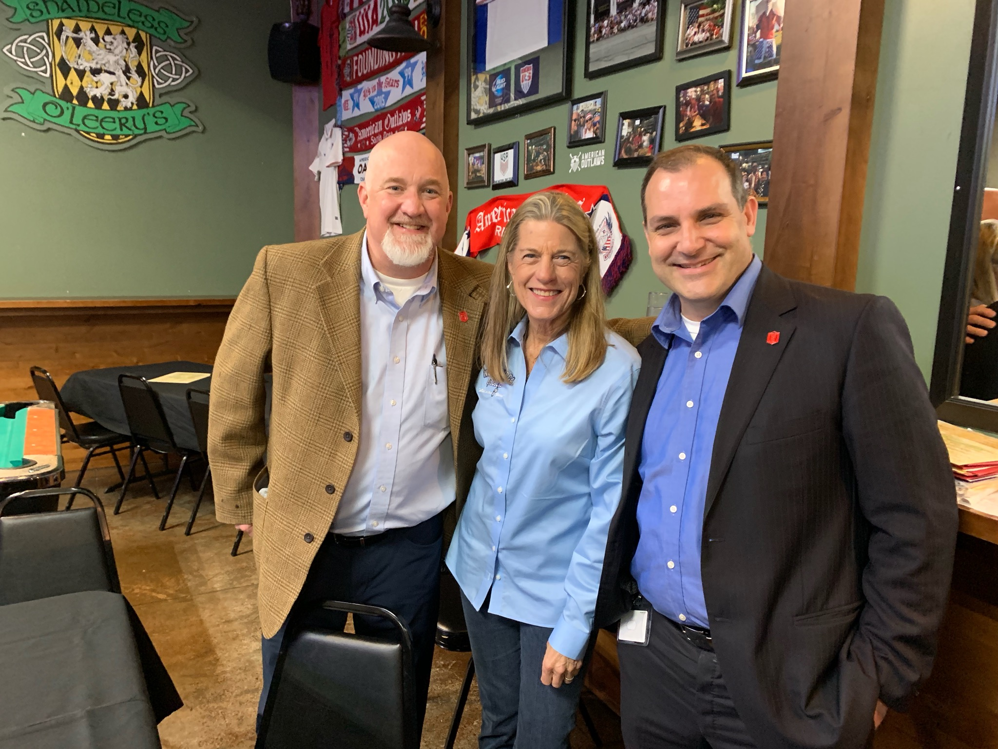 Left, Dr. Norman Hall, Simpson University President with Ken White and RCA Member Cheryle Thurman. A special thanks from the Retired Coaches for a great presentation of upcoming changes at Simpson University.