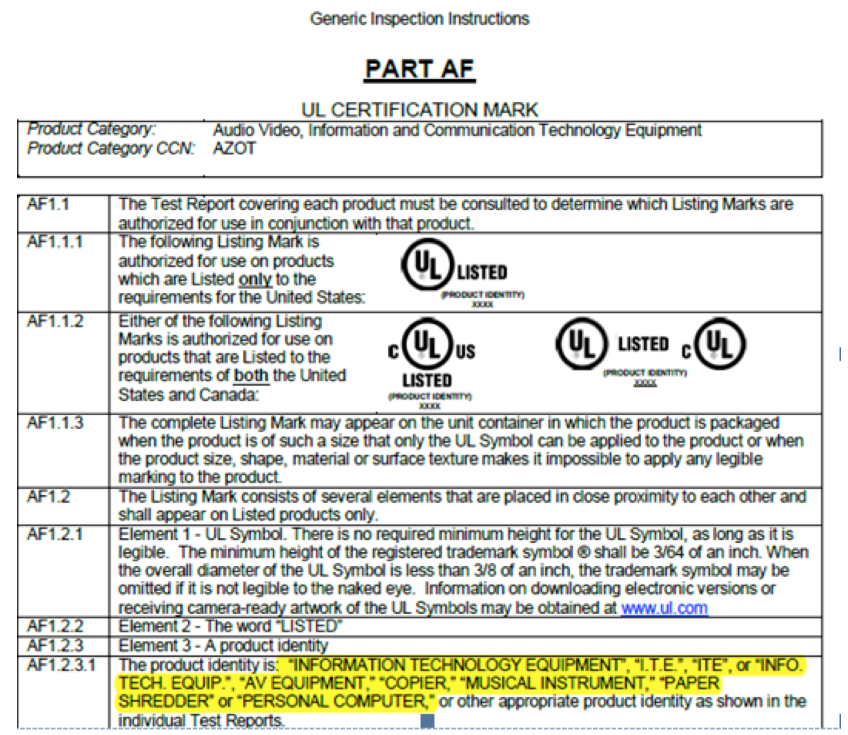 UL 62368-1, UL Mark Product Identity標示要求