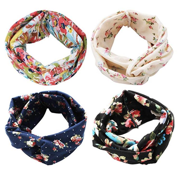 Amazon 4-Pack Floral Head Wraps ($9.89)