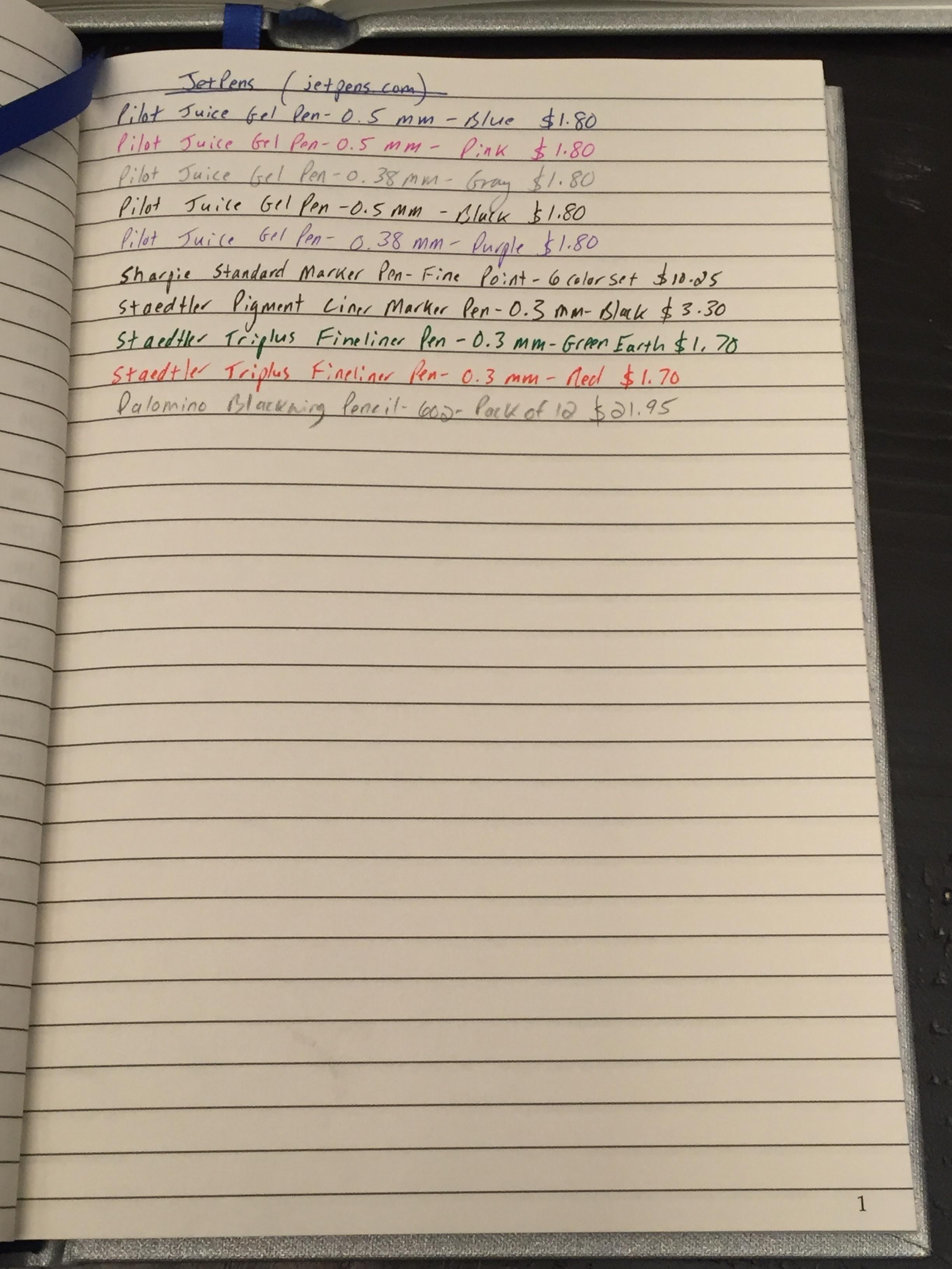 Buy List from  Jetpens . I love Pilot Juice gel ink pens; Palomino Blackwing 602 pencils; Sharpie fine point markers; and Staedtler triplus fineliners.