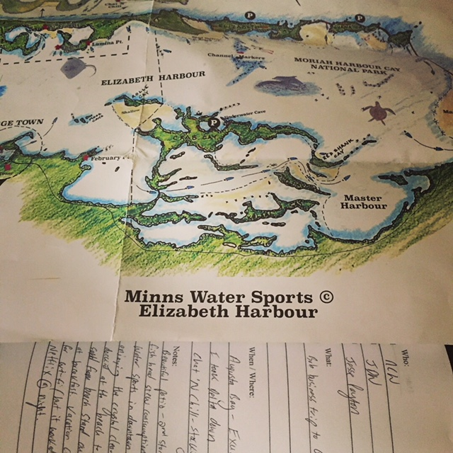 A map from Minns Water Sports. How to get from Elizabeth Harbour to Chat 'N Chill on Stocking Island.