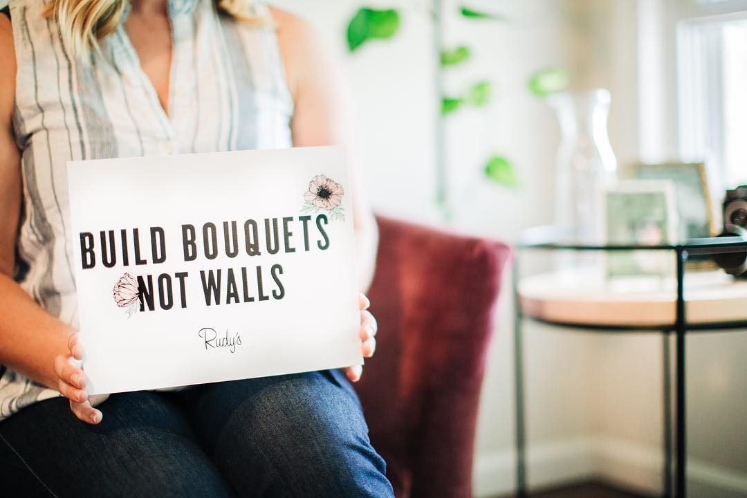 Rudy's Flower Truck: Build Bouquets Not Walls t-shirt