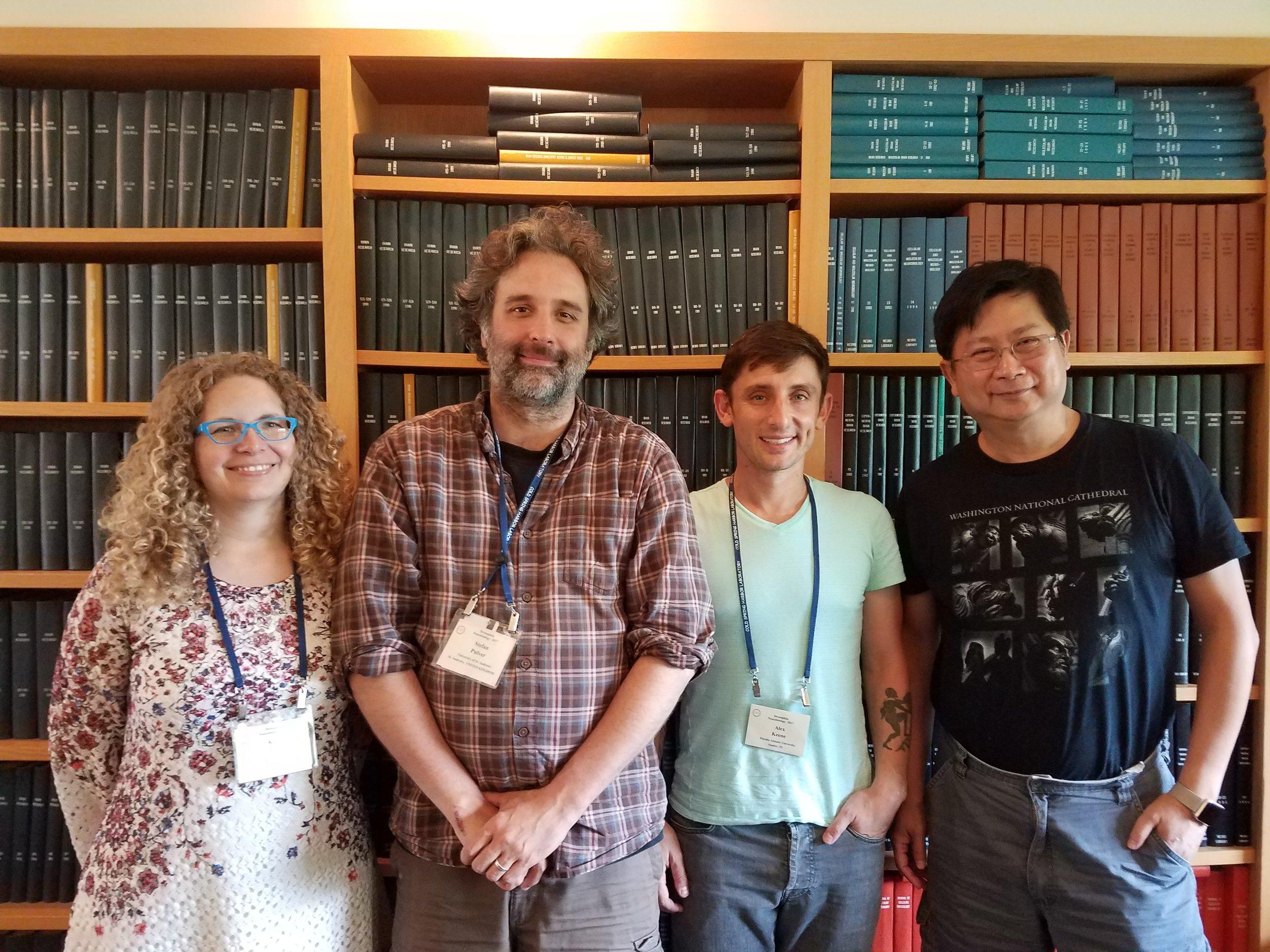 2017 Drosphila Neurobiology co-lead course instructors Karla Kaun, Stefan Pulver, Alex Keene, and Chi-Hon Lee (L to R)