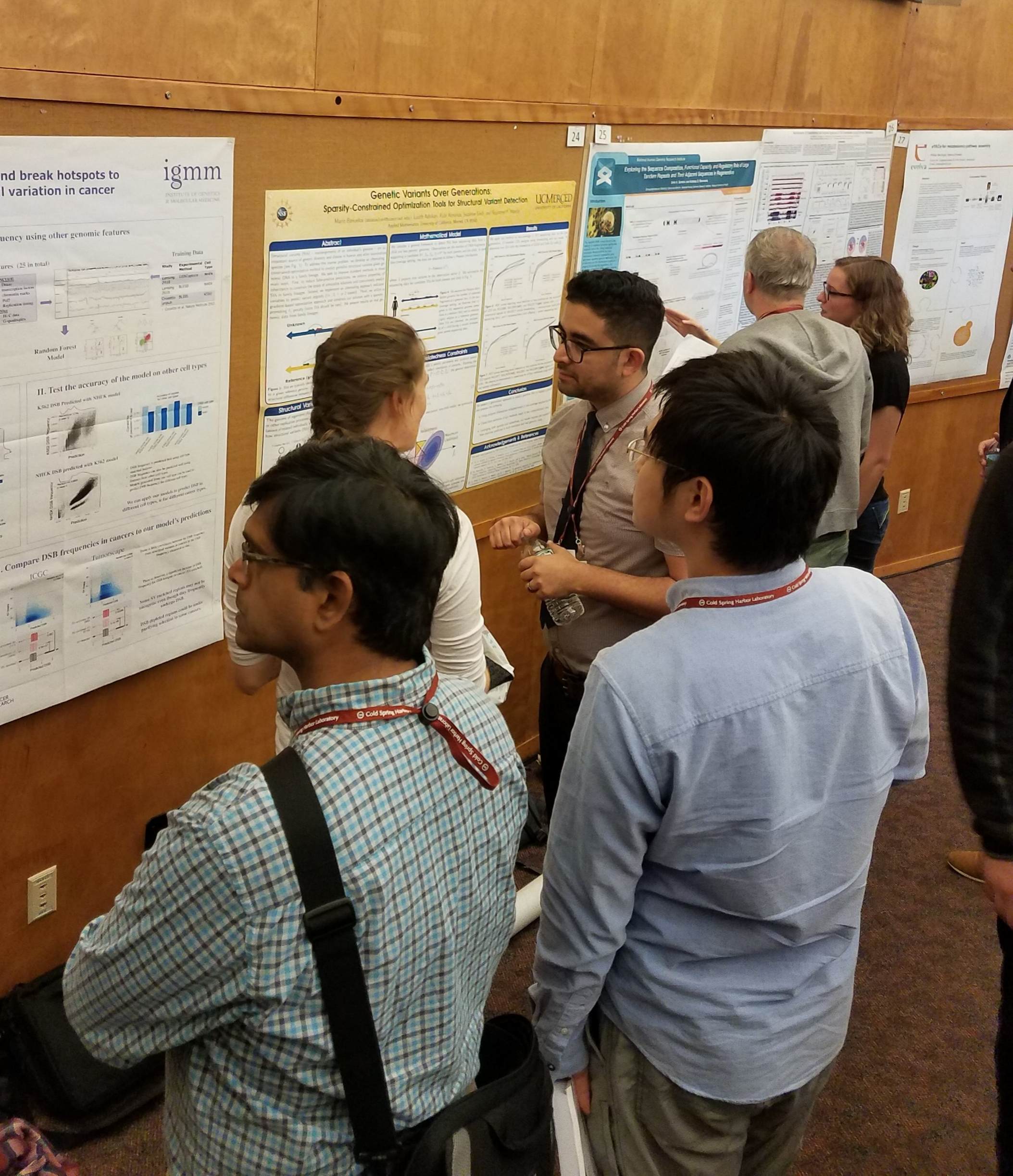 Mario Banuelos presenting his work at one of the poster sessions at the 2017 Genome Informatics meeting.