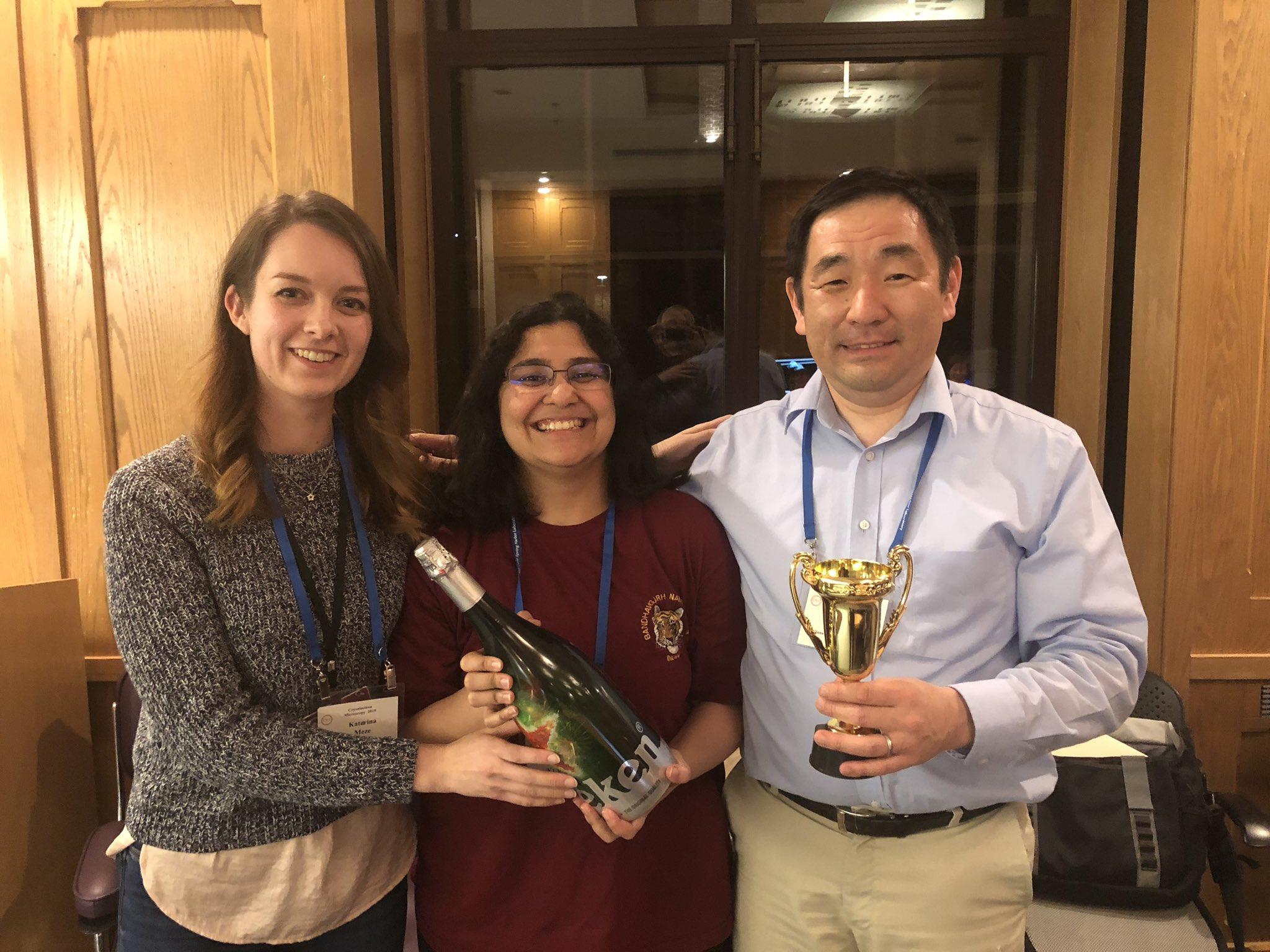 Winning team members of the Cryoelectron Microscopy course's grid freezing competition. L to R: Katerina Meze of CSHL, Kaavya Krishna Kumar, Yuichiro Takagi of Indiana University School of Medicine Image: Yuichiro Takagi