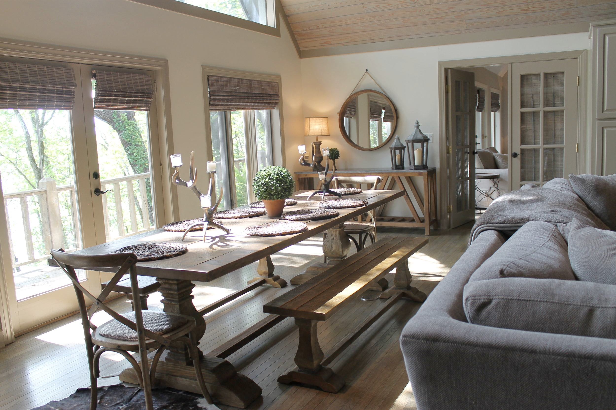 Prime Design Memphis, LLC - Arkansas Lake House, Living & Dining, White Walls, Taupe Trim, Sectional, Farm Table, Rustic Wood Ceiling