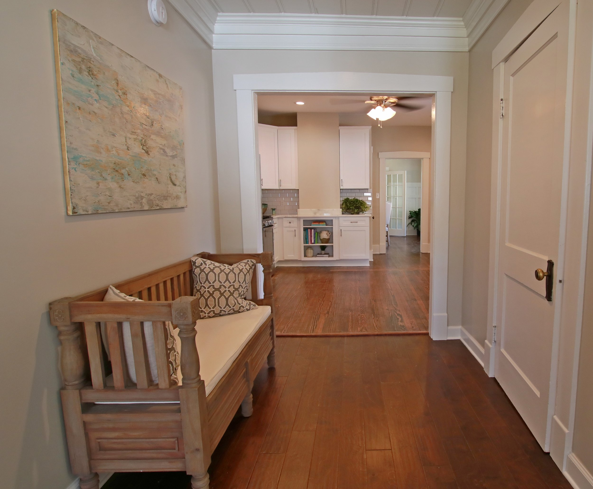 Prime Design Memphis, LLC - Den, Family Room, Sherwin Williams Agreeable Gray, Harwood Floors, Bench, Neutral, Art