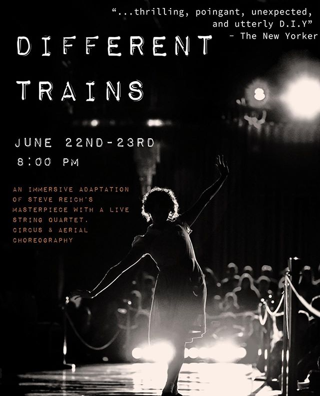 Different Trains is back! June 22-23 Two Nights of Shows!  This immersive performance catapults Steve Reich's minimal masterpiece into a unique experience equipped with electronics and live musicians, accompanied by stunning cirque-style choreography. Get your tickets today for an early bird discount! ⠀ ⠀ Ticket Link In Our Bio!⠀ ⠀ #MyHeartBeatsCircus #Circus #TheMuseBrooklyn #MuseItOrLoseIt #DifferentTrains #SteveReich⠀