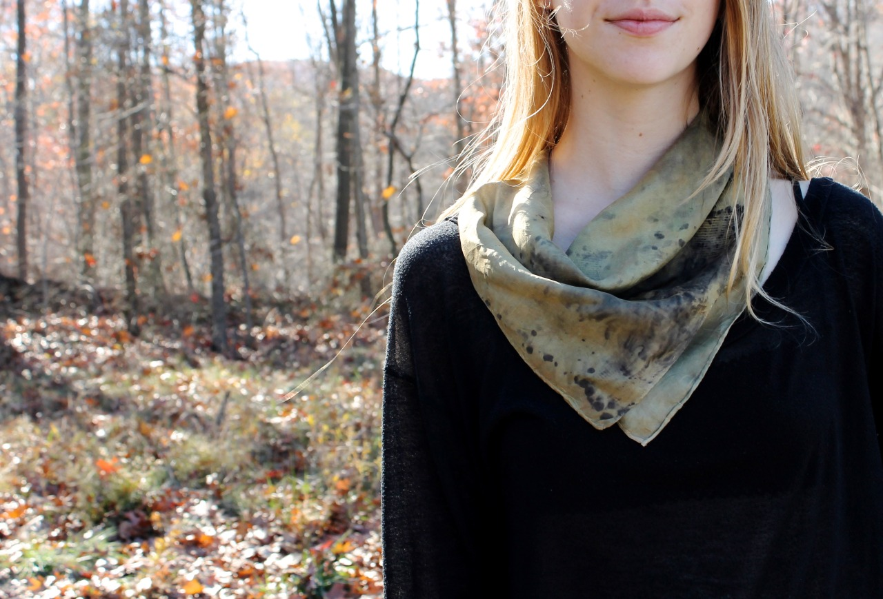 Olive green caesia scarf  Silk with hand-rolled hems  Marigold bath + indigo  Bundled w/ reclaimed rusty objects