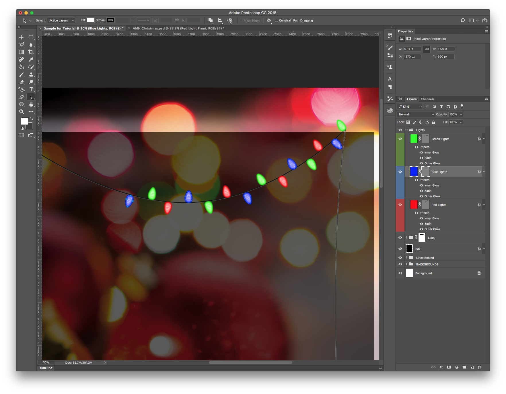 Duplicated shapes with effects to create a Christmas light effect.