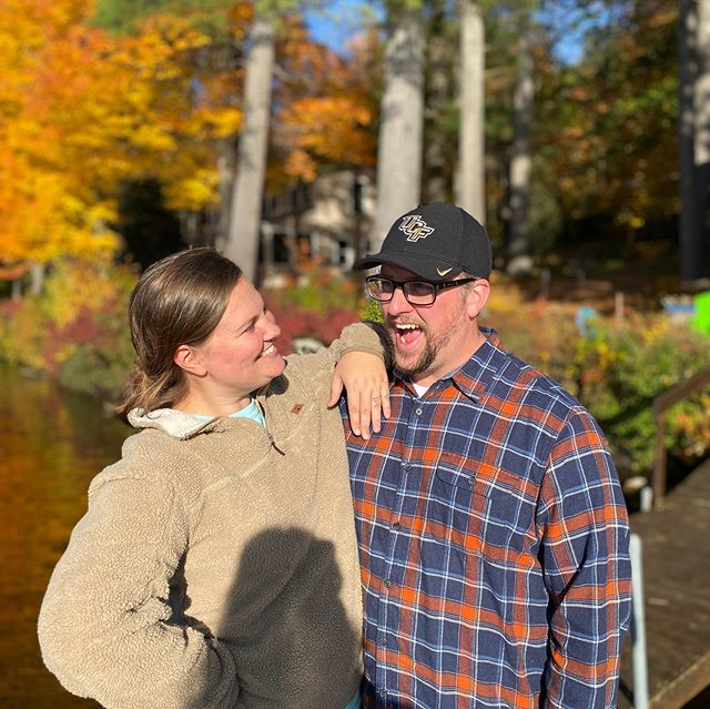 Look closely. Came up to Maine for a nice fall vacation and got the surprise of my life. ❤️🥰❤️ @andrewwhitman10 Thanks to both families for keeping the surprise and my mom for attempting to take pictures lol spot Violette not caring at all and trying to jump in the pond.