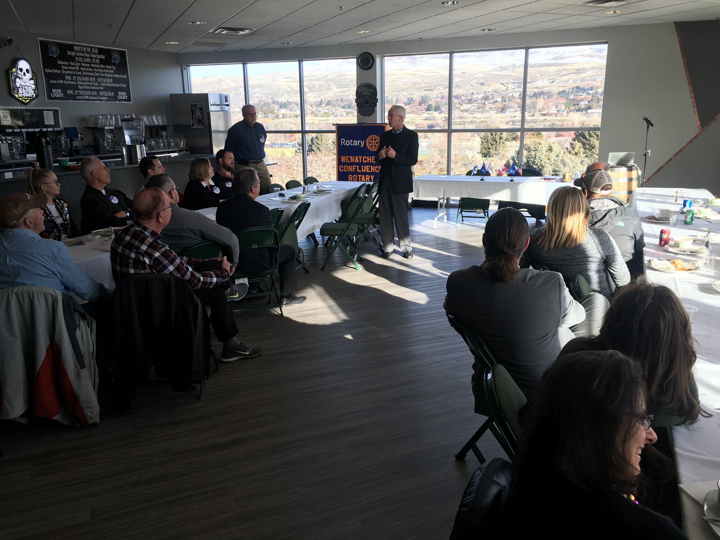 Chelan PUD General Manager Steve Wright speaking to the club, Dec. 12, 2018.