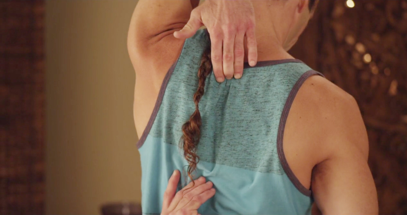 GUIDED MID BACK PAIN RELIEF & PREVENTION EXERCISES  Stretching, strengthening, and rotating your side muscles, lower back, and shoulders to help create space and relax the mid-back.