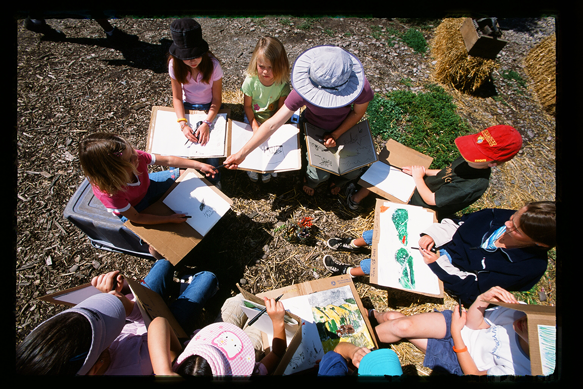 Working with young people at the PEAS Farm sketching micro and macro landscape features, everything from the crop rows to the curl in a pig's tail.