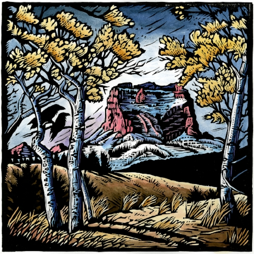 Chief Mountain:  Nanaiistako    Original hand-painted woodblock print. Limited edition of 100. $300 each, $800 for series of all three prints.