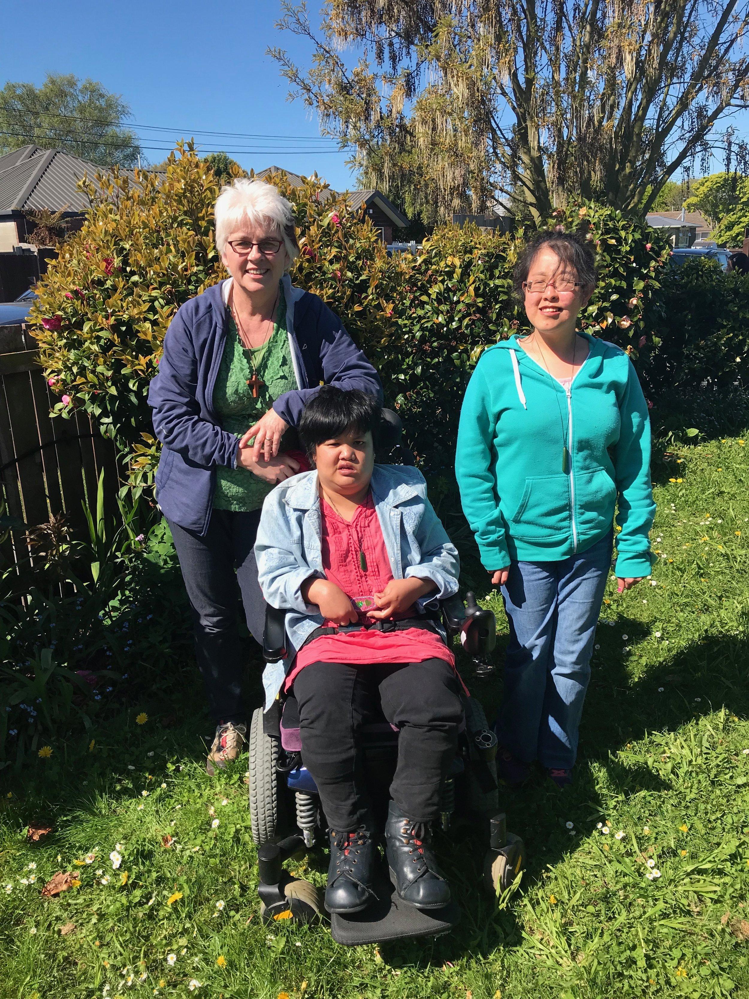 Sonja, Batin and May at home in Christchurch