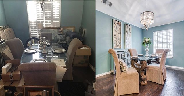 We love the Staging part of our job! Just look at how we transformed this dining room!  Now this space is inviting for possible buyers and picture ready! 🙌🏻📸 . . . . . #homestaging #dentontx #dentonrealtors #diningroom #staginghomes #illuminare #illuminate #readytoshow #sellingyourhome #denton #beforeandafter