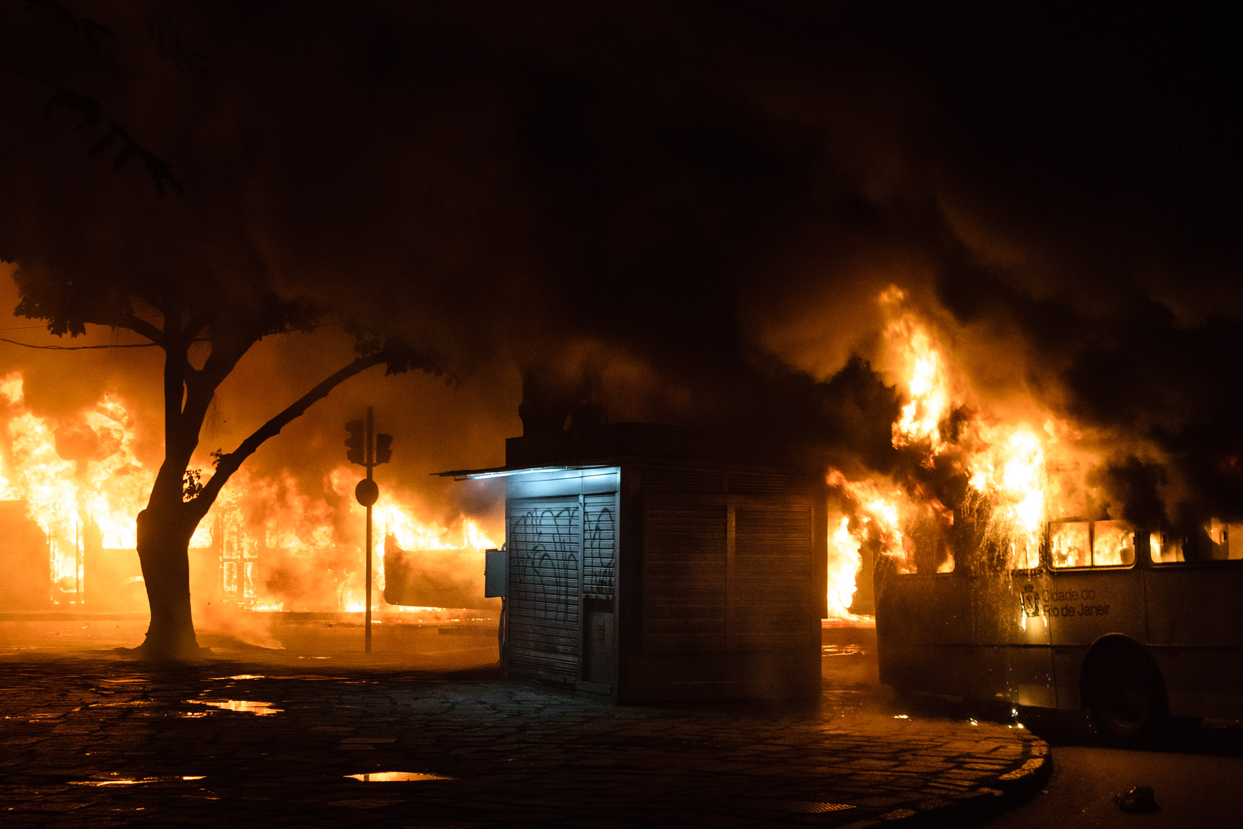 Buses' burn in downtown Rio after protest against corruption.