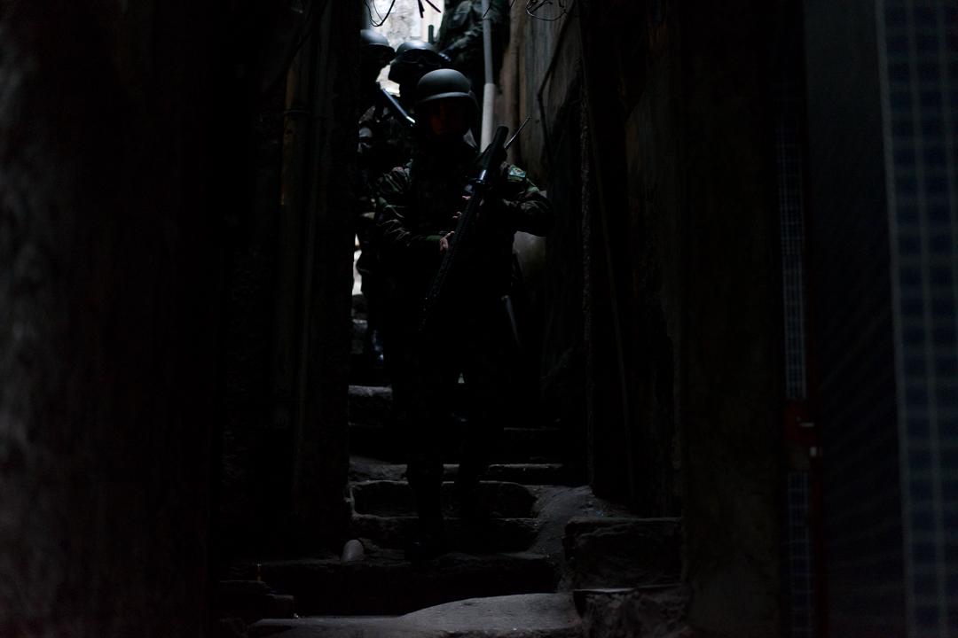 Brazilian Soldiers Patrol Rocinha Favela