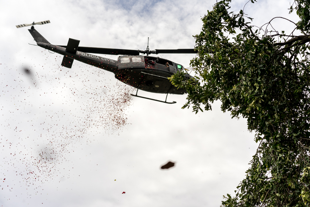 Police Helicopter Drops Petals During Funeral of Police Deputy.