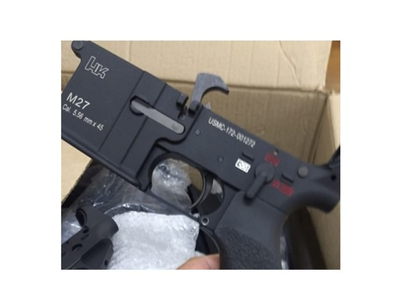 One of the lower receivers found by police allegedly belonging to Lessa. The semi-automatic hammer can be seen at the top of the component. (Photo: Police)