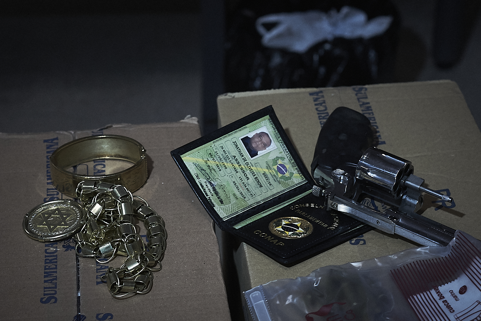 Jewelry and other items confiscated from a militia member in Rio de Janeiro (Photo: C.H. Gardiner)