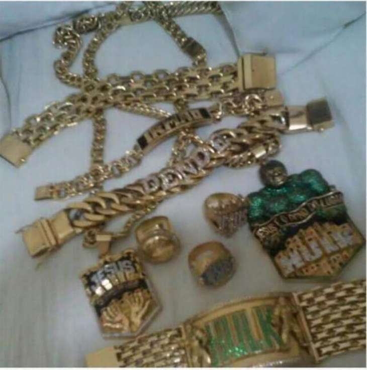 "Jewelry belonging to a trafficker named Gilberto Coelho de Olivera, also known as ""Hulk."""