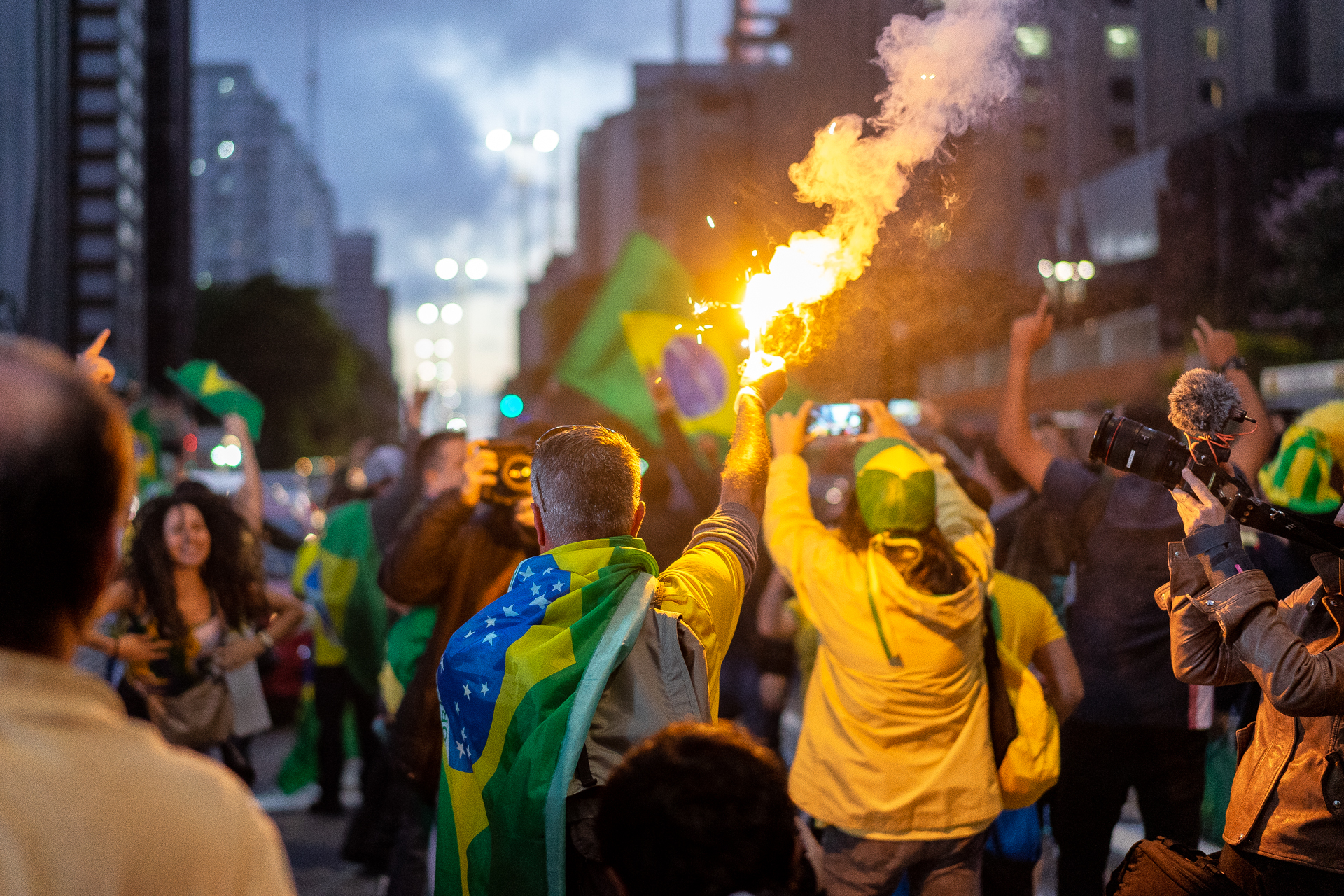 Supporters of Jair Bolsonaro celebrate following his election last year (Photo C.H. Gardiner)
