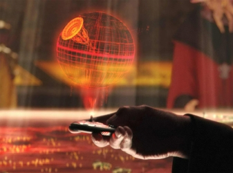 Count Dooku receiving the Death Star plans during the First Battle of Geonosis