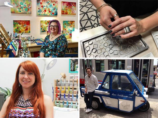 Heather Robinson  (fine art paintings),  Colleen Mauer  (handcrafted jewelry)  Iris Willow  (enamel jewelry),  Amos Goldbaum  (urban apparel)