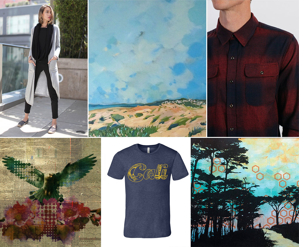 Long cardigan by Adelyn, painting by  Colette Hannahan , shirt by Bridge & Burn  Art by  Phillip Hua , t-shirt by Mission Threads, art by  Hilary Williams