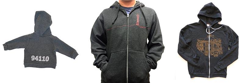 94110 baby hoodie by Five Digit Designs, Sutro tower men's hoodie by New Skool, Bernal Heights hoodie by Amos Goldbaum