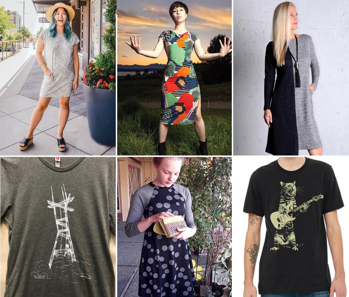 Dress by Harumi K, dress by KFLY, dress by gr.dano t-shirt by New Skool, dress by Kopolo, t-shirt by Mission Thread