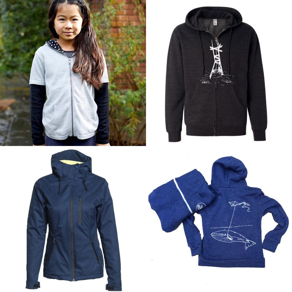 Cashmere sweater by Eden & Zoe, glow-in-the-dark Sutro hoodie by New Skool Waterproof hooded jacket by Alamere,  whale kid's hoodie  by Animal Instincts