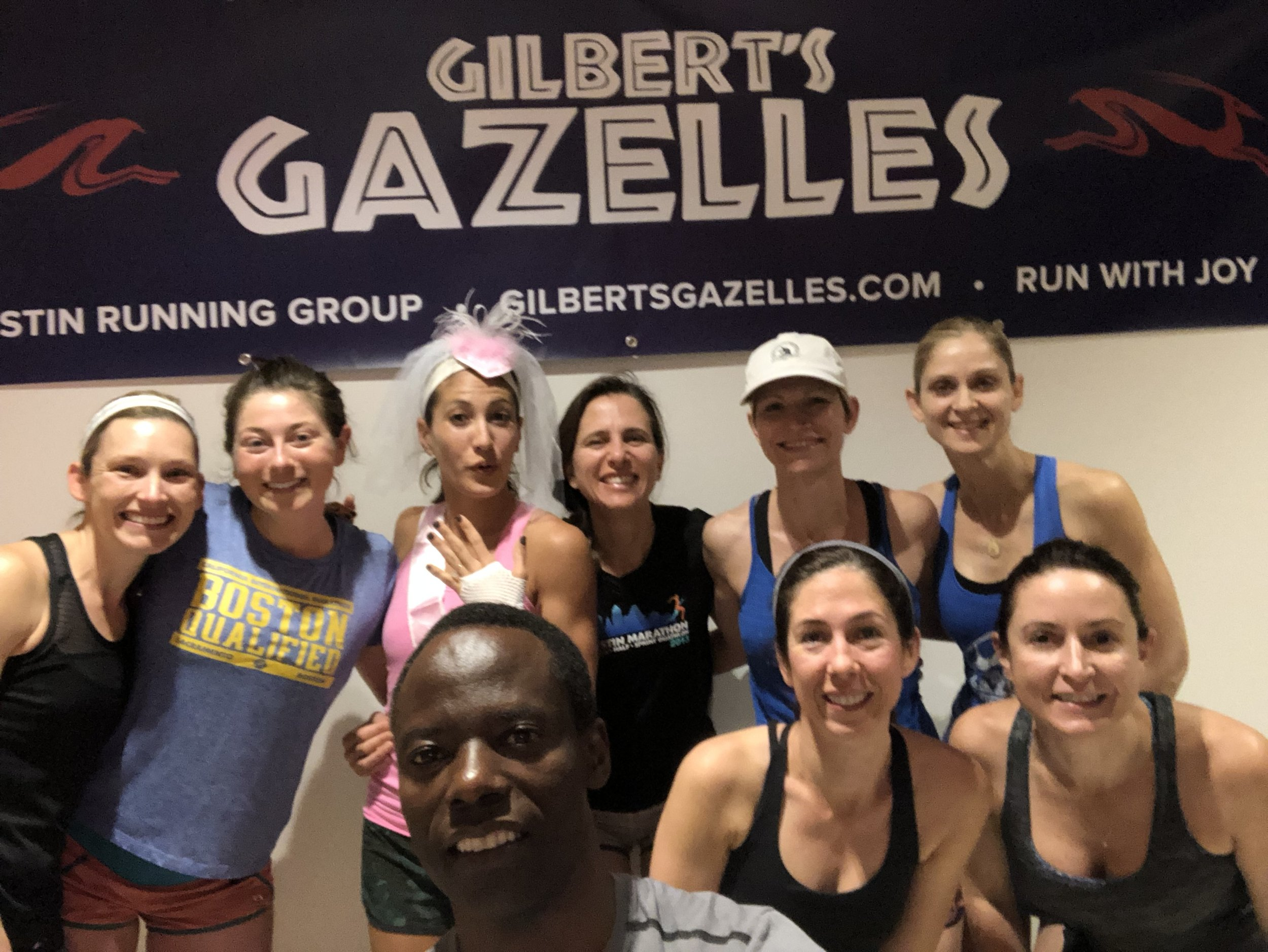 """Congratulations to Gazelle Scottee (Reid) Downing who married Sean Downing on 3/31. Her Gazelle friends had a """"bridal"""" run last week to celebrate."""